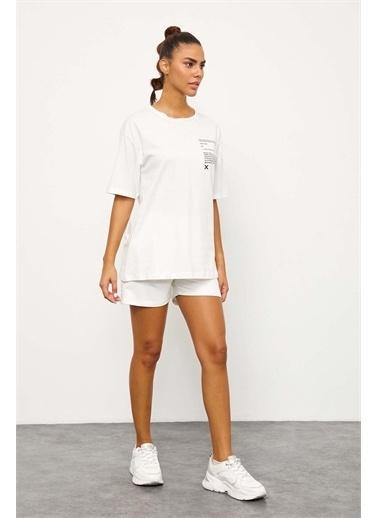 Setre Lila T-Shirt Şort Takım Ekru